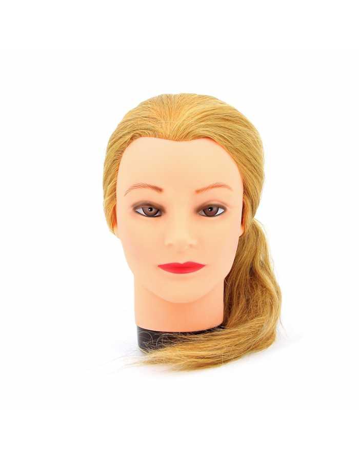 Голова учебная Dewal натуральные волосы 45-50 см, блондинка М-4151L-408