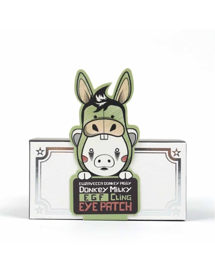 Elizavecca Патчи для глаз Биоцеллюлозные Donkey piggy donkey milky egf cling eye patch, 60 шт
