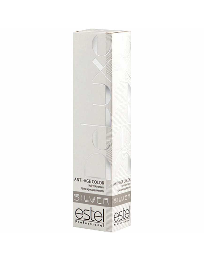 Estel Крем-краска для волос 10/74 DeLux Silver, светлый блондин коричневыйо-медный для 100% седины 60 мл