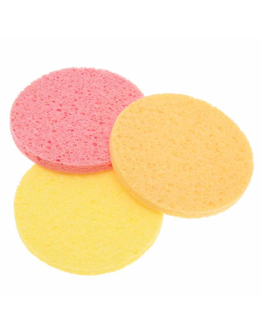 Губка для снятия макияжа круглая цветная 3 шт.