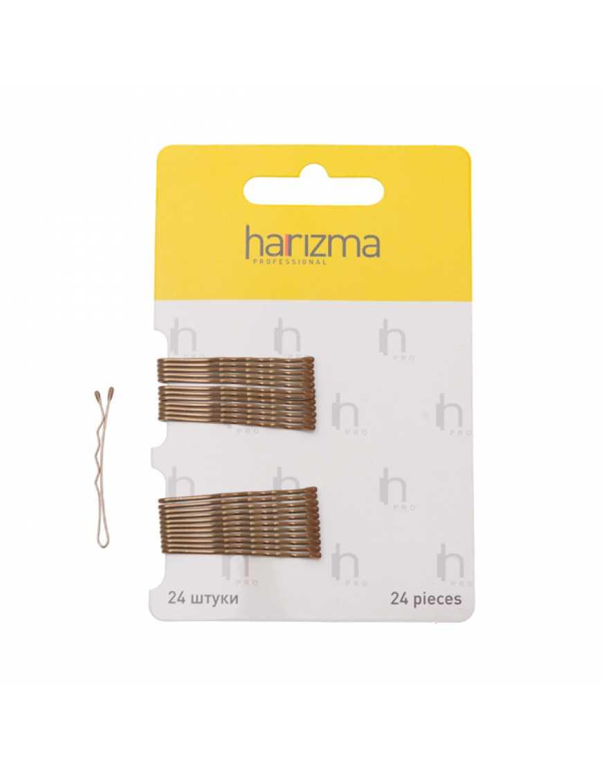 Harizma Невидимки 40 мм волна коричневые 24 шт h10532-04