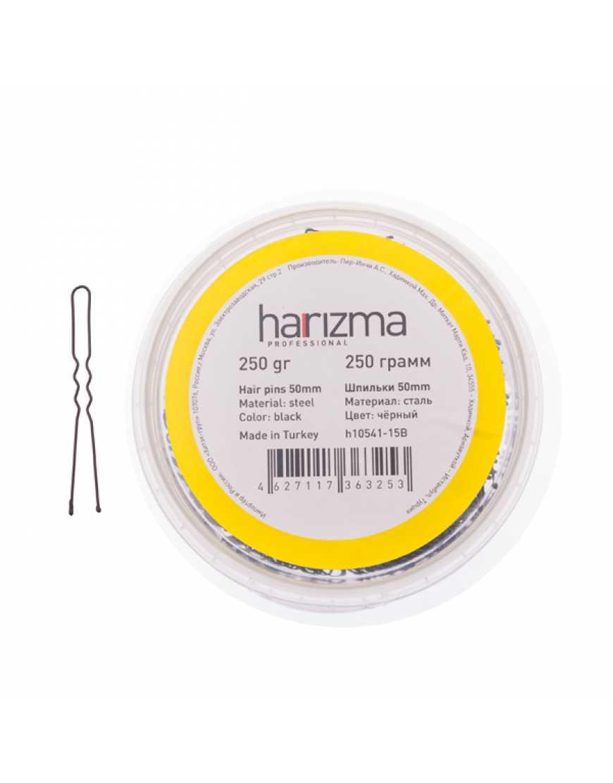 Harizma шпильки 50 мм черные волна 250 гр h10541-15B