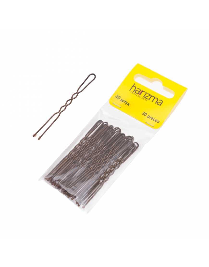 Harizma шпильки 60 мм коричневые волна 30 шт h10543-04