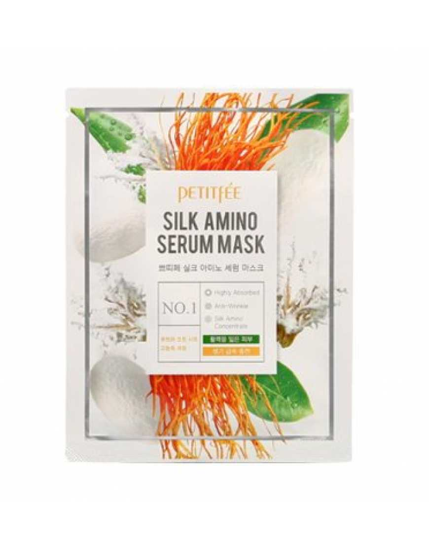 PETITFEE Silk Amino Serum Mask Тканевая маска для лица с протеинами шелка