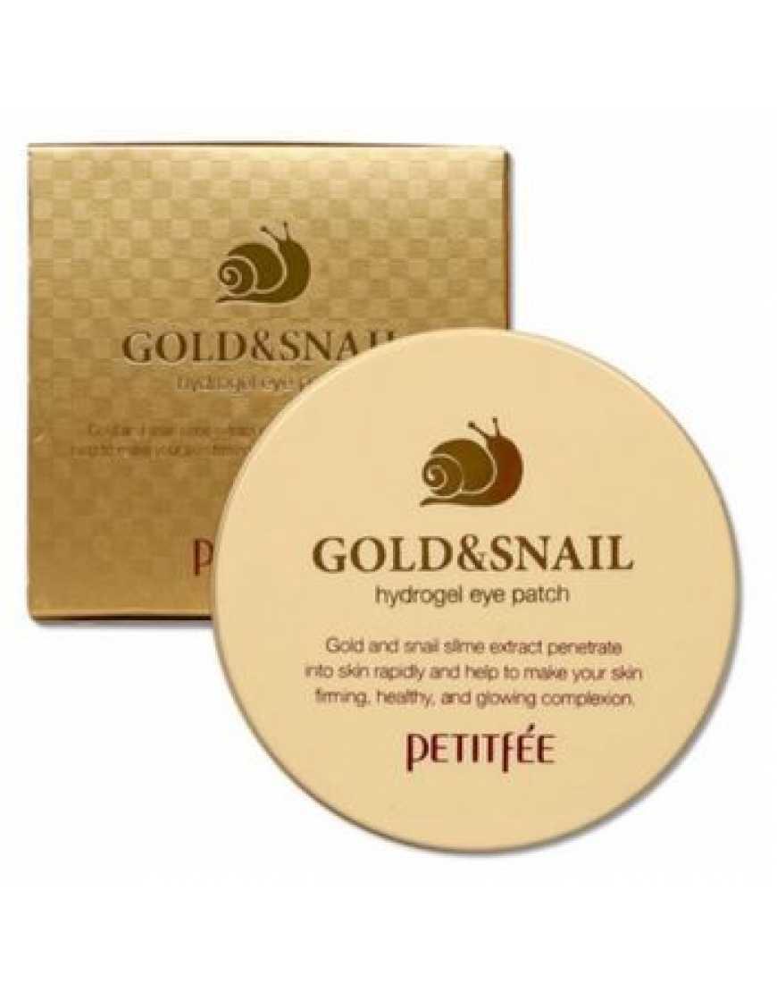 PETITFEE Gold/Snail Hydrogel Eye Patch Гидрогелевые патчи для глаз ЗОЛОТО/УЛИТКА, 60 шт