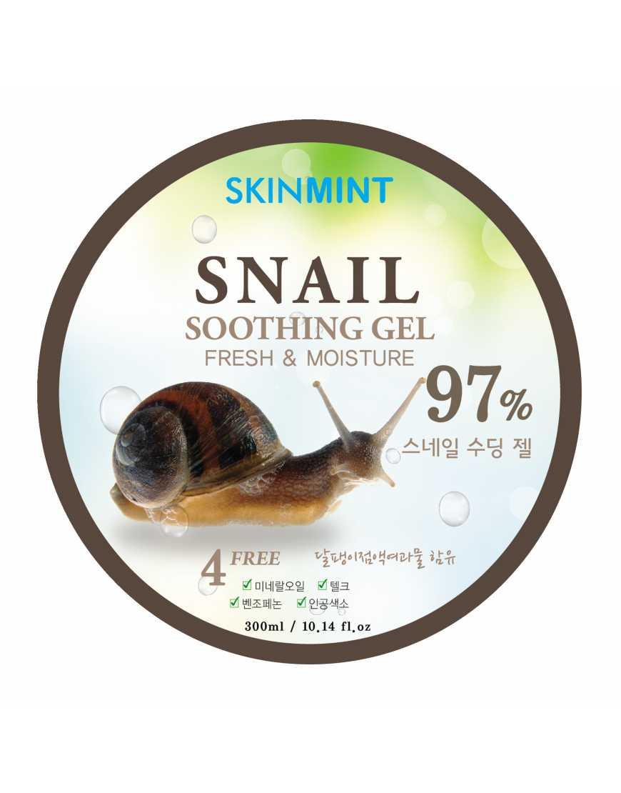 Skinmint Гель увлажняющий для лица и тела с экстрактом улитки 97%, 300 мл