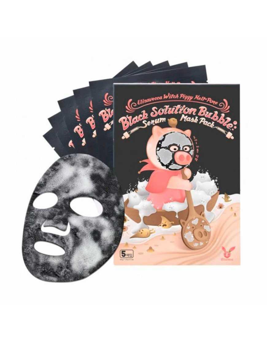 Elizavecca Тканевая маска Witch Piggy Hell-Pore Black Solutijn Bubble Serum Mask Pack