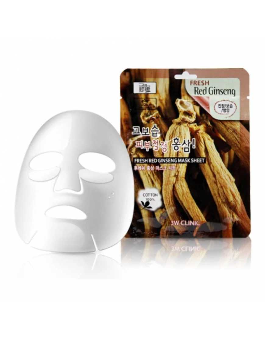 Tканевая маска для лица 3W CLINIC Fresh Red Ginseng Mask Sheet красный женьшень, 23 мл