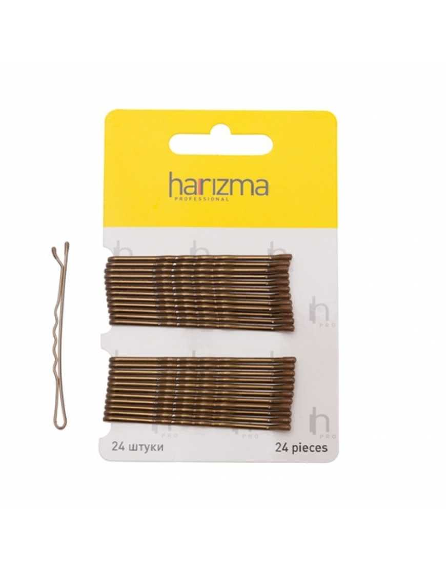 Harizma Невидимки 60 мм волна коричневые 24 шт h10536-04
