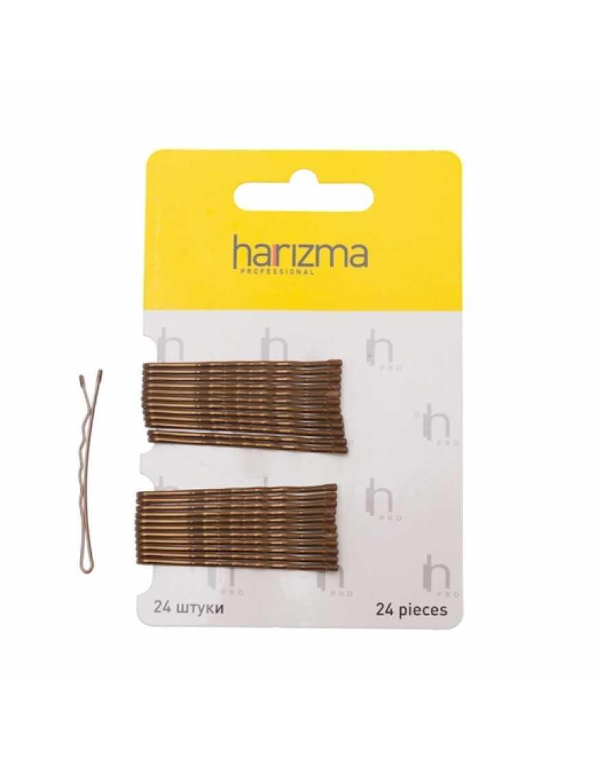 Harizma Невидимки 50 мм волна коричневые 24 шт h10534-04