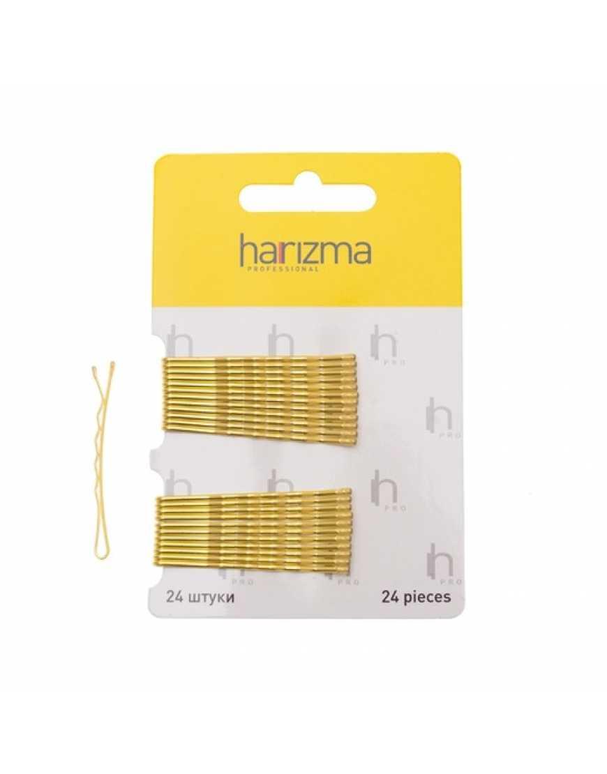 Harizma Невидимки 50 мм волна золото 24 шт h10534-19