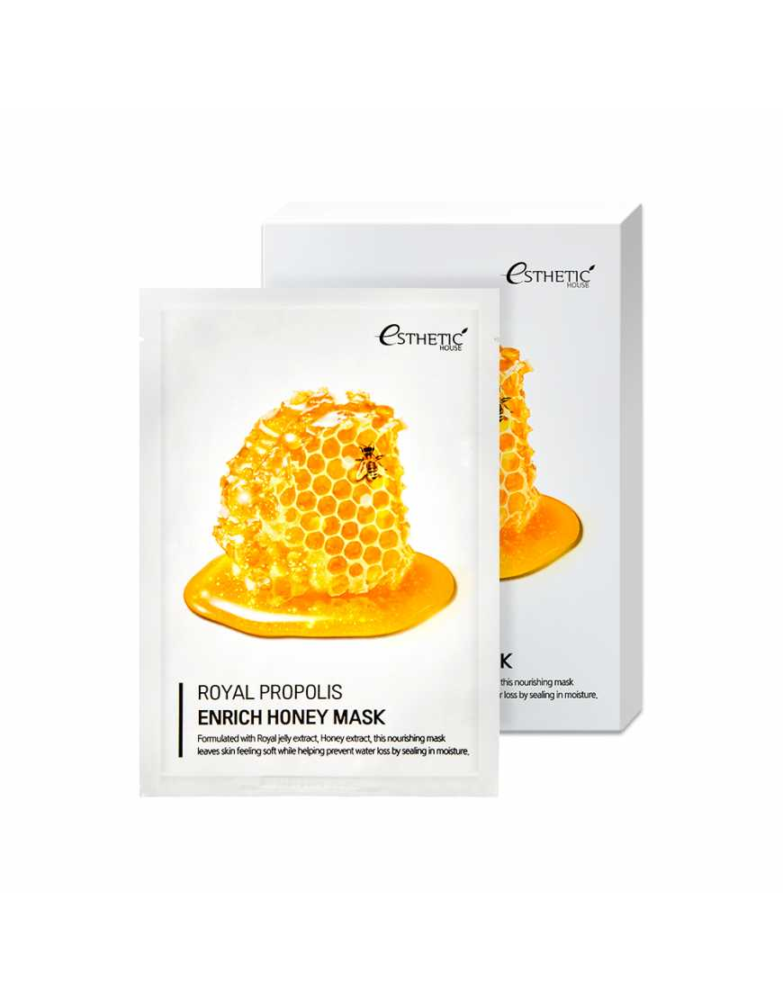 Esthetic House Тканевая маска для лица МЕД/ПРОПОЛИС Royal Propolis Enrich Honey Mask, 25 мл
